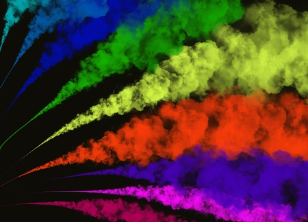 Photo for Elegant Freeze motion of Abstract Colorful Smoke or Powder Exploding on Black Background with Copy Space for Text Decorated  - Royalty Free Image