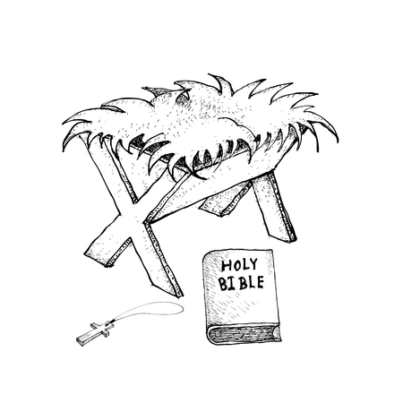 Illustration pour Christian Symbol, Illustration Hand Drawn Sketch of Manger with Bible and Wooden Cross Isolated on White Background, Sign for Christmas Celebration . - image libre de droit
