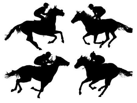 Horse Racing Silhouette on white background