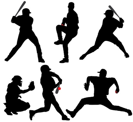 Baseball Silhouette on white background