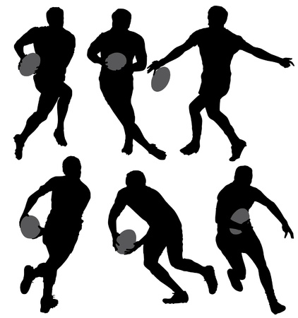 Rugby Silhouette on white background
