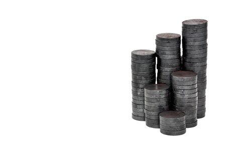 Foto de stack of small round magnet isolated on white background, copy space - Imagen libre de derechos