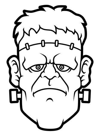 Illustration pour Cartoon Frankenstein Head Line Art - image libre de droit