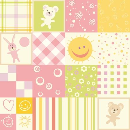 Baby seamless.Set of child patterns