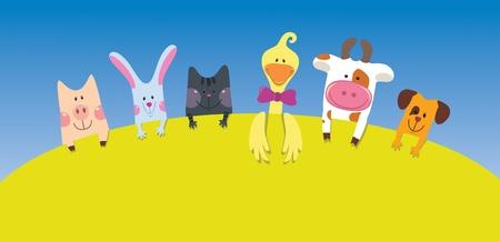 Photo for Cartoon farm animals card  - Royalty Free Image