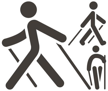 Ilustración de Health and Fitness - Nordic Walking icons set - Imagen libre de derechos