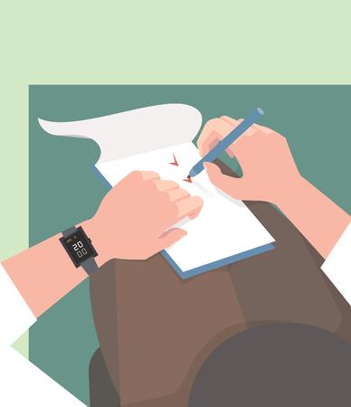 Illustration pour Diary. Completing tasks. The vector color illustration - image libre de droit