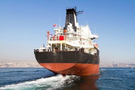 Large tanker ship on route to Bosporus sea