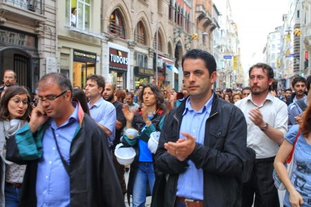 ISTANBUL - JUN 12: Turkish lawyers march in support of anti-government protests at Istiklal Street on June 12, 2013 in Istanbul. They were detained yesterday by police while protesting in courthouse.