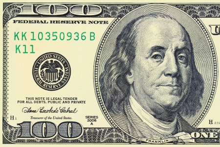 Photo for Macro shot of a 100 dollar  Benjamin Franklin as depicted on the bill - Royalty Free Image