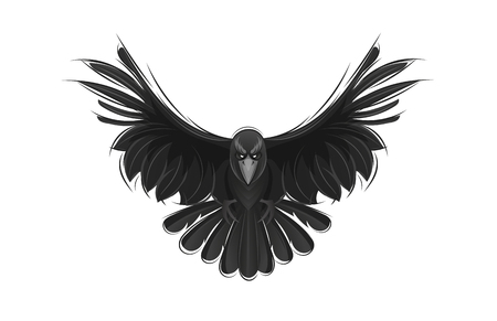 Illustration pour Black raven isolated on white background. Hand drawn crow vector illustration. - image libre de droit