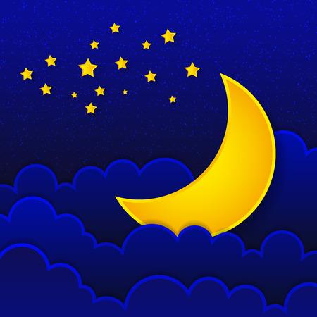 Illustration for Retro illustration moon wishing good night. - Royalty Free Image