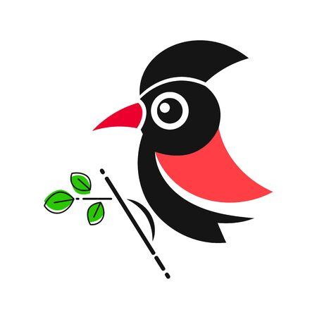 Ilustración de Woodpecker. Bird Animal Abstract Vector Template Zoo Wildlife Business Icon Nature Company Symbol Concept - Imagen libre de derechos