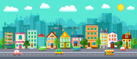 Ilustración de Vector City Street in a Flat Design and Set of Urban Buildings - Imagen libre de derechos
