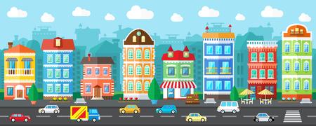 Illustration pour City Street in a Flat Design and Set of Urban Buildings - image libre de droit