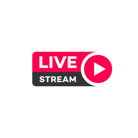 Foto de Vector live stream logo flat style with play button isolated on background for  blog, player, broadcast, website. online radio, media labels. Live stream banner. 10 eps - Imagen libre de derechos