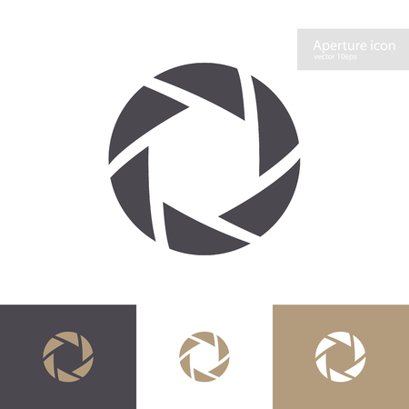 Photo for Lens symbol set isolated on background. Aperture icon. Camers objective icon. Shutter for photography logo, web design. Vector 10 eps - Royalty Free Image