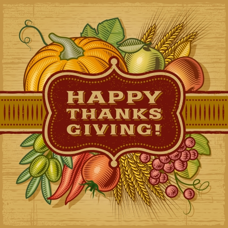 Photo for Happy Thanksgiving Retro Card - Royalty Free Image