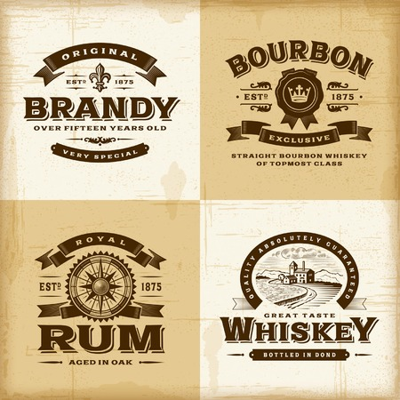Vintage alcohol labels set mural