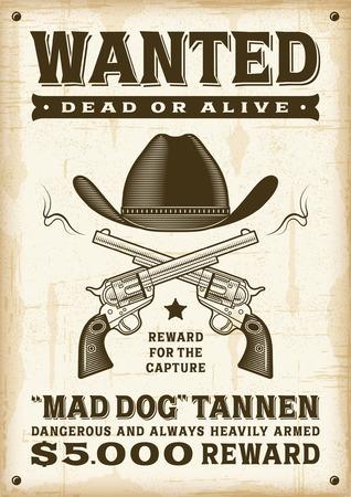 Ilustración de Vintage western wanted poster - Imagen libre de derechos
