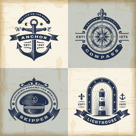 Ilustración de Set of vintage nautical labels - Imagen libre de derechos