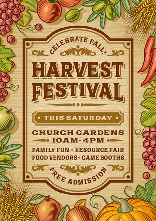 Illustration pour Vintage Harvest Festival Poster - image libre de droit