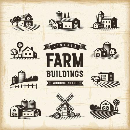 Illustration pour Vintage Farm Buildings Set - image libre de droit