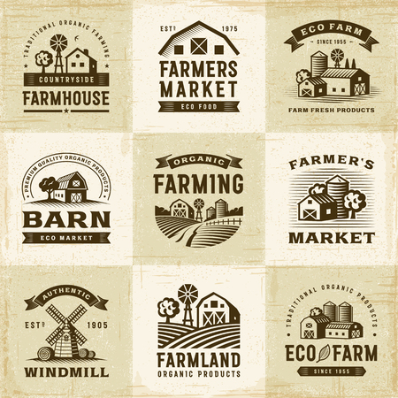 Illustration pour Vintage Organic Farming Labels Set - image libre de droit
