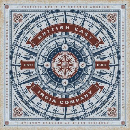 Ilustración de Vintage British East India Company Nautical Typography - Imagen libre de derechos