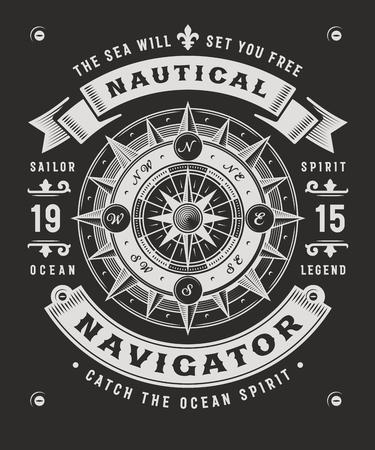 Ilustración de Vintage Nautical Navigator Typography On Black Background - Imagen libre de derechos