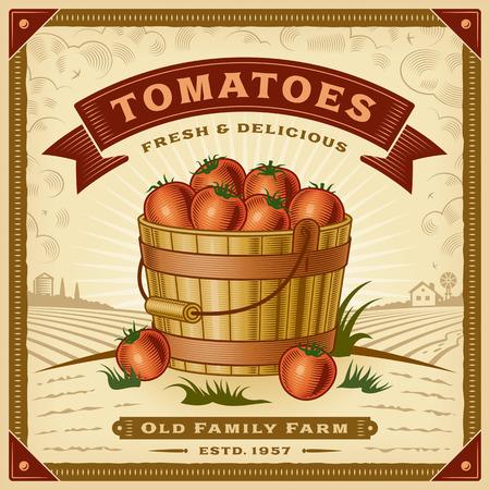 Illustration pour Retro tomato harvest label with landscape - image libre de droit