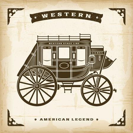 Illustration pour Vintage Western Stagecoach - image libre de droit