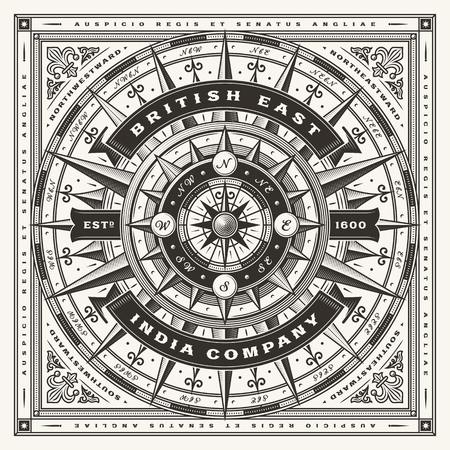 Illustration for Vintage British East India Company Nautical Typography (One Color) - Royalty Free Image
