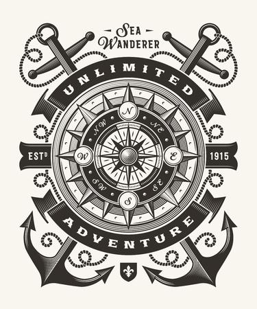 Ilustración de Vintage Unlimited Adventure Typography (One Color) - Imagen libre de derechos