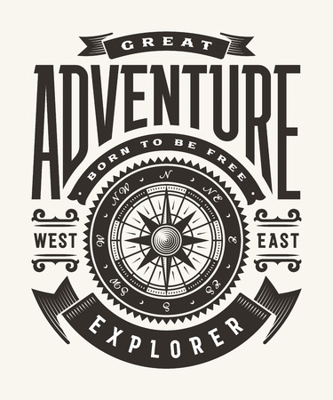 Illustration for Vintage Great Adventure Typography (One Color) - Royalty Free Image