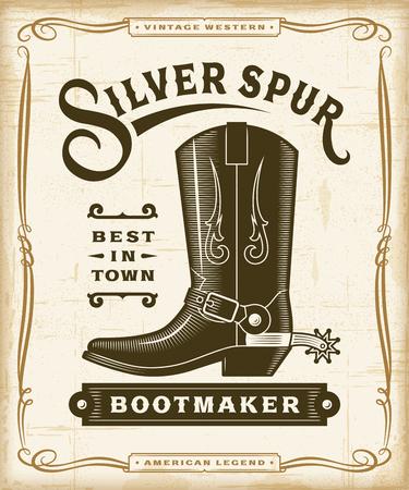 Ilustración de Vintage Western Bootmaker Label Graphics - Imagen libre de derechos