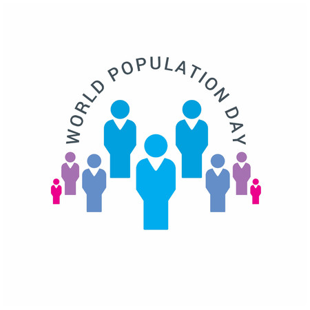 Illustration pour Vector illustration,banner or poster of world population day. Globe circled with people. People.  White Background.. For web design and application interface, also useful for infographics. Vector illustration. - image libre de droit