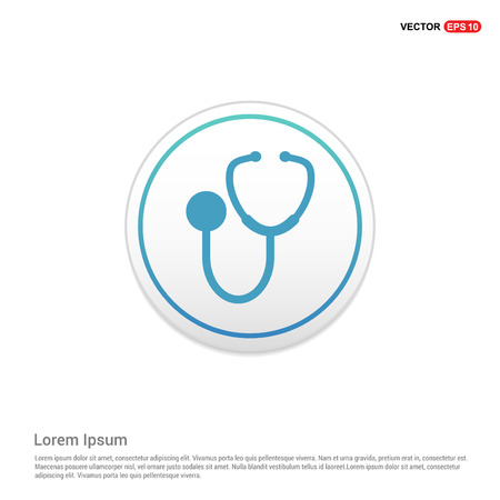 Illustration for Medical stethoscope icon - white circle button - Royalty Free Image