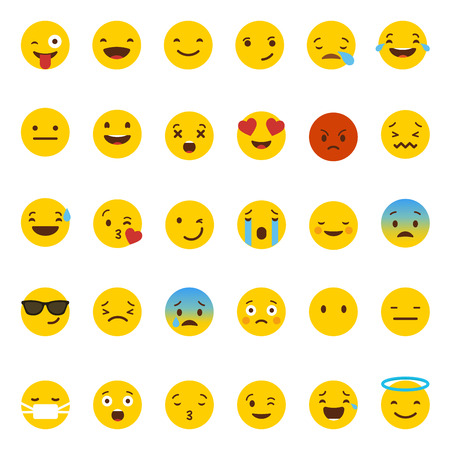 Illustrazione per Emoji icons set vector - Immagini Royalty Free