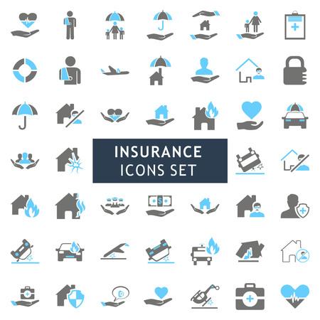 Ilustración de Insurance icons set vector - Imagen libre de derechos