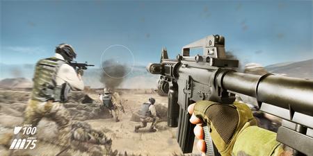 Foto de Desert battlefield first person vr rifle view with soldiers and explosions. - Imagen libre de derechos