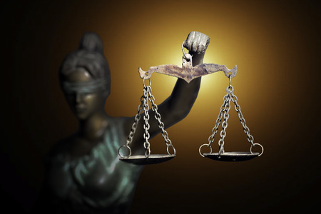 Photo for Lady Justice on emerald background - Royalty Free Image