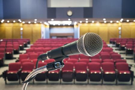 Photo pour Microphone in meeting room - image libre de droit