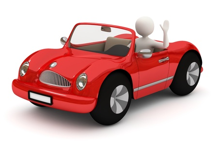 3d white man driving, going with red car, waving with raised hand