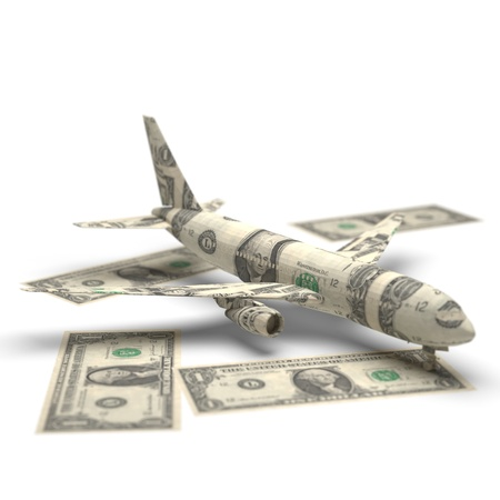 airplane money origami made in 3D
