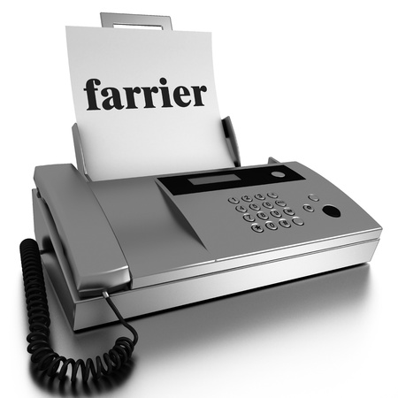 Word printed on fax on white background