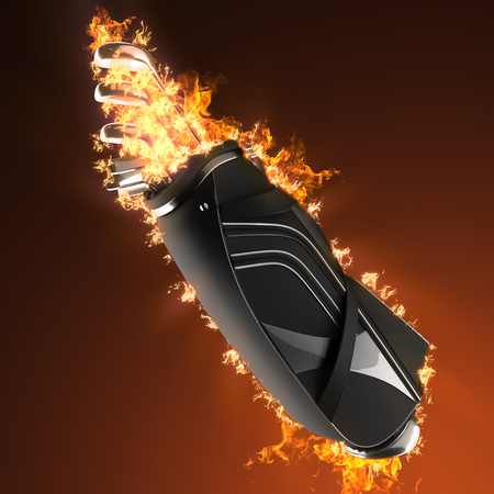 Golf clubs drivers in fire