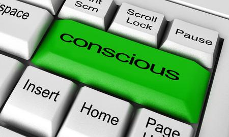 Foto de conscious word on keyboard button - Imagen libre de derechos