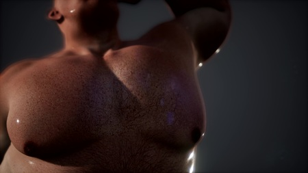 Foto de The smell of sweat. fat guy without a shirt - Imagen libre de derechos