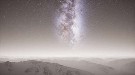 Photo for aerial view of Milky Way above snow covered terrain - Royalty Free Image